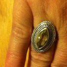 New Sterling Silver .925 Citirine Marquise Bezel Shaped Ring Size 7