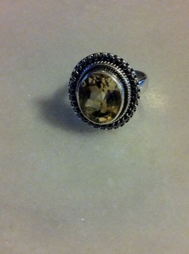 Bold Sterling Silver Citrine .925 Solitare Bezel Ring Size 7