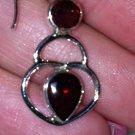 Sterling Silver .925 Garnet Heart Dangle Earrings New