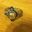 Pretty Irradescent Dichroic Glass Sterling Silver .925 Ring Size 8