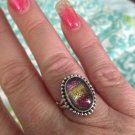 Sterling Silver .925 Rainbow Dichroic Glass Size 7 Ring $24.99