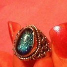 Sterling Silver .925 Dichroic Glass Blue Green Ring Size 8.5 $24.99