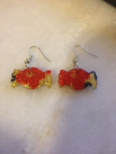 Candy Bubble Gum Piece Red gold blue earrings. Silvertone