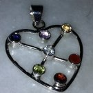Sterling Silver .925 Multi Gem Heart Pendant Charm