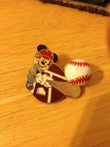 Authentic Disney 2002 Baseball & Bat Mickey Mouse Pin