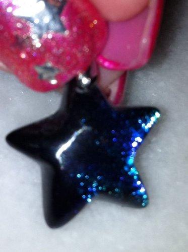 "Dichroic Glass Blue Green Star Earrings 1.25"" long New"