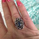 Sterling Silver .925 Moonstone And Ametyst Sz 8.75 Ring $24.99