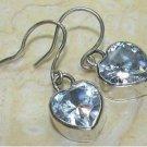 Sterling Silver Handcrafted Heart White Topaz Bezel Earrings $22.99