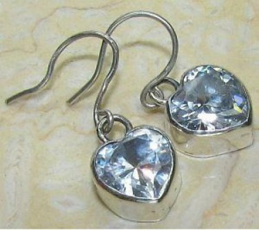 Sterling Silver Handcrafted Heart White Topaz Bezel Earrings $22.99