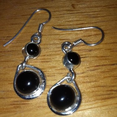 Sterling Silver .925 Black Onyx Circle Earrings $14.99