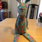 Cute Blue & White GiNgham flower print shelf sitter Bunny SAle $8
