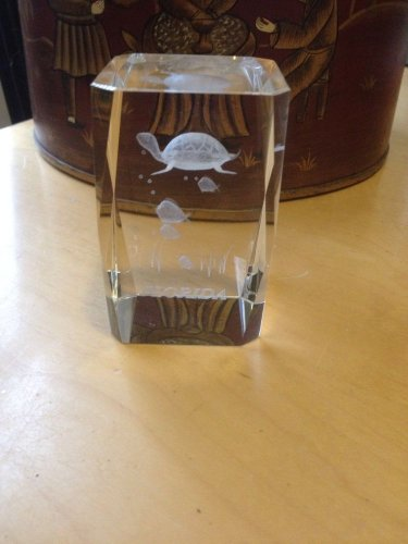 Turtle Rectangular Cube Glass Laser Etching Paper Weight Decorarive Glass