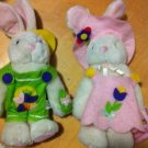 Vintage Easter Bunny Boy & girl Plush Stuffed Animals Felt Outfits