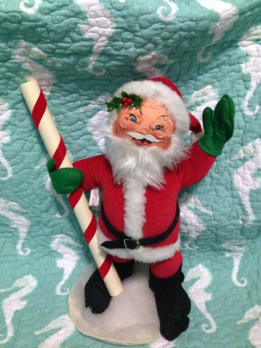 """Vintage Annalee Mobilitee Doll 14"""" 1988 Santa Claus with North Pole $45"""