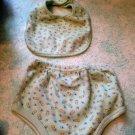 Cutie Pie 6-9 Month Baby Diaper Bloomer Covers & Bib Set green Duck $5.99