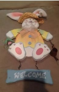 """Cute Wood Bunny Rabbit Welcome Wall Plaque 13"""""""