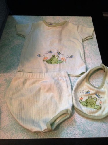 Adorable Tad Little Green Frog 3pc Baby Outfit Set Unisex 0-6 Months $7.99