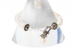 White Freshwater Pearl Charm Bracelet