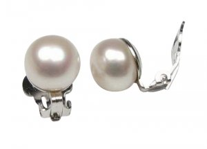 White 9-10mm Freshwater Pearl Sterling Silver Clip On Earrings