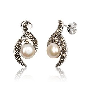 Marcasite 925 Sterling Silver Elegant Freshwater Pearl Stud Earrings