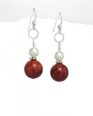 Mother-of-Pearl Sponge-Coral Sterling Silver Earrings