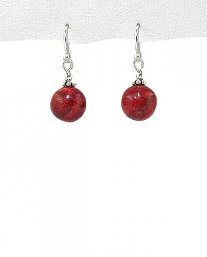 Sterling Silver Single-Ball Coral Hanging Earrings