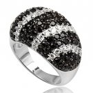 Black and White Micro-Setting CZ Sterling Silver Ring, Size 9(S)