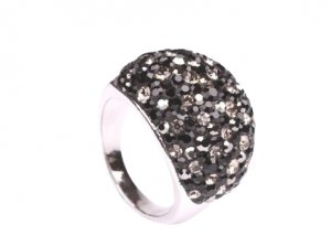Black with White Genuine Czech Crystal Cocktail Ring, Size 9(S)