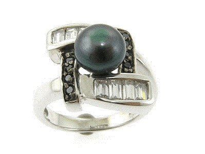 Peacock Green Freshwater Pearl Sterling Silver Designer Style Ring, Size 7 (O)