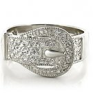 Buckle Style AAA Grade CZ Rhodium Plated Ring, Size 9 (S)