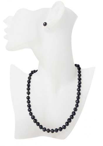 Black Classy Sterling Silver Freshwater Pearl Jewellery Set