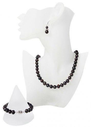 Elegant Black Pearl and Tibet Silver Jewellery Set