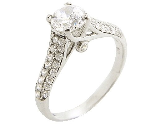 925 Sterling Silver Micro-Wax Setting Simulated Diamond Engagement/Wedding Ring Size 7(O)