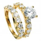 18KT Gold Filled 2.04ct AAA+ Grade Simulated Diamond Engagement/Wedding Ring Set Size 5(J1/2)