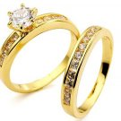 18KT Gold Filled AAA+ grade Simulated Diamond Wedding/Engagement Ring Set Size 8(Q)