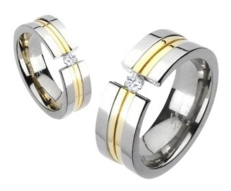 Titanium His/Hers 14K Gold IP Simulated Diamond Engagement/Wedding Band Size 11(W)