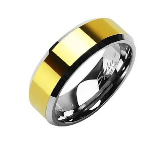 14ct Yellow Gold, GP, PVD Band, Tungsten Carbide, Wedding Ring Size 8(Q)