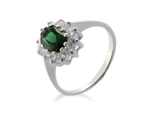 Emerald Simulated Diamond, 925 Sterling Silver Engagement Wedding Ring Size 8.5(R)