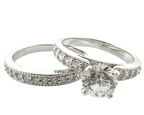 Double-Band Sterling Silver Bridal Engagement/Wedding Ring Set Size 7(O)