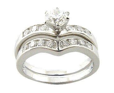Elegant-Dip Sterling Silver Bridal Engagement/Wedding Ring Set Size 9(S)