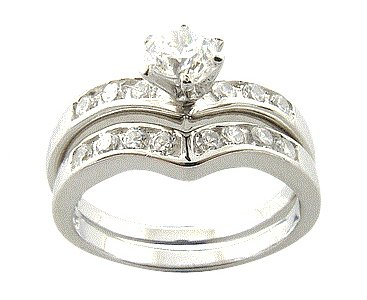 Elegant-Dip Sterling Silver Bridal Engagement/Wedding Ring Set Size 9(S)