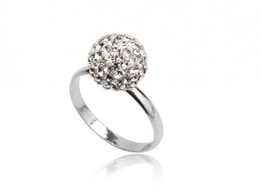 Shimmering Ball Ring made with Swarovski Crystals and 925 Silver Size 7.5(P)