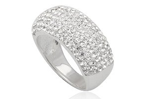 925 Sterling Silver Ring made with White Swarovski Crystals Size 7.5(P)