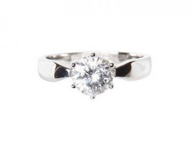 Platinum-Look 1-Carat AAA grade CZ Engagement/Wedding Ring Size 8(Q)