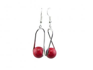 Red Alaqueca Gemstone Sterling Silver Drop Earrings