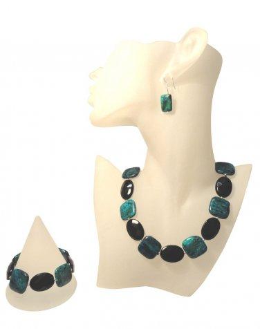 Black Crystal and Phoenix Semi-Precious Gemstone Jewellery Set