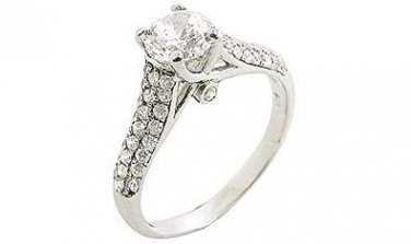 925 Sterling Silver Micro-Wax Setting Simulated Diamond Engagement/Wedding Ring, Size 4.5(I1/2)