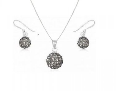 18mm Grey Ball 12mm Dangle Earring Jewellery Set made with Swarovski Crystals