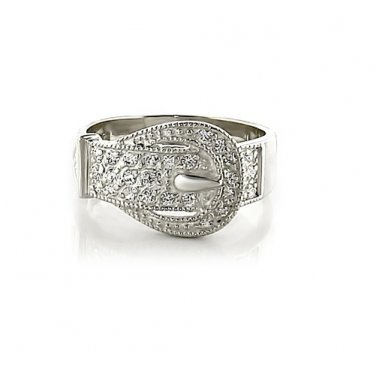 Buckle Style AAA Grade CZ Rhodium Plated Ring, Size 8 (Q)