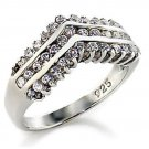 Exquisite Sterling Silver Diamond Simulated Bridal Ring, Size 9(S)